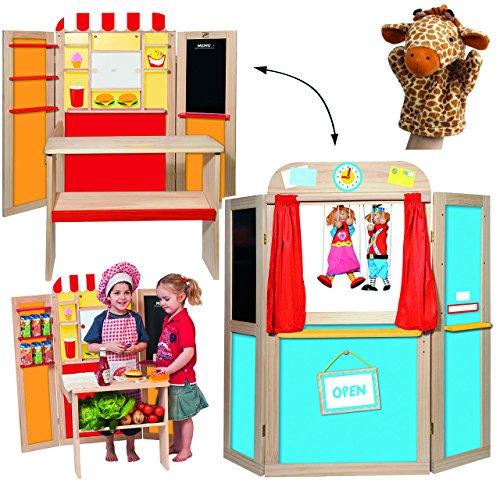 Unbekannt 3 in 1 ! Kaufmannsladen + Kreidetafel + Kasperletheater aus Holz - aufklappbar - Kaufladen Theater - für Kinder Mädchen Jungen - Kaufladen