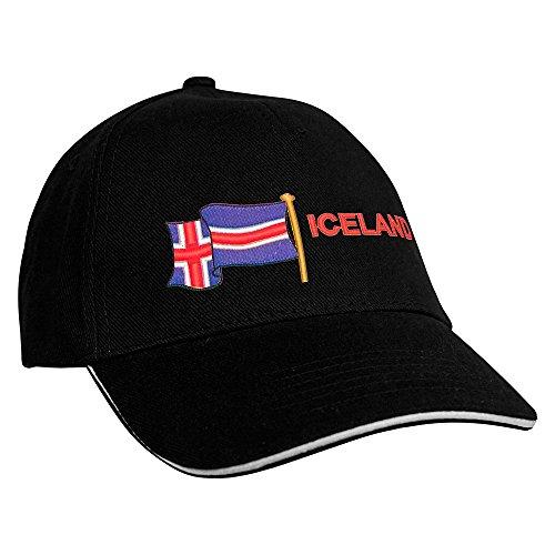 Baseballcap mit Einstickung Fahne Flagge Iceland Island 69989 in versch. Farben Farbe...
