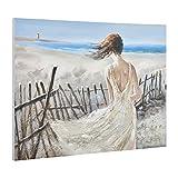 [art.work] Original handgemaltes Wandbild mit Frau am Meer-Motiv auf Leinwand inkl. Keilrahmen