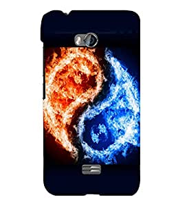 printtech Chinese Yin Yang Fire Ice Back Case Cover for Micromax Bolt Q336