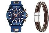 Mini Focus Fashion Classic Analog Quarz Uhren für Männer Silikon Band Gurt für Herren 22mm auf Verkauf mit gratis Leder Armband (blau)