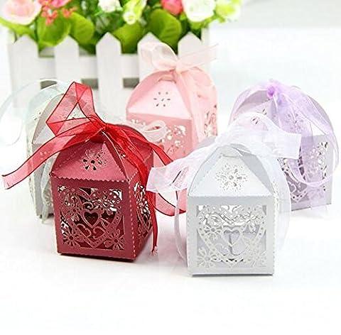 Lugii Cube Lugii Cube creux Out Amour Boîte cadeau pour le papillon Pearl Papier Argenté (50pcs)