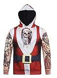 Honeystore Unisex 3D Druck Kapuzenpullover Weihnachtsmann Sweatshirt Weihnachten Langarm Top Shirt Herbst Spaß Hoodie Rot-01 XXL