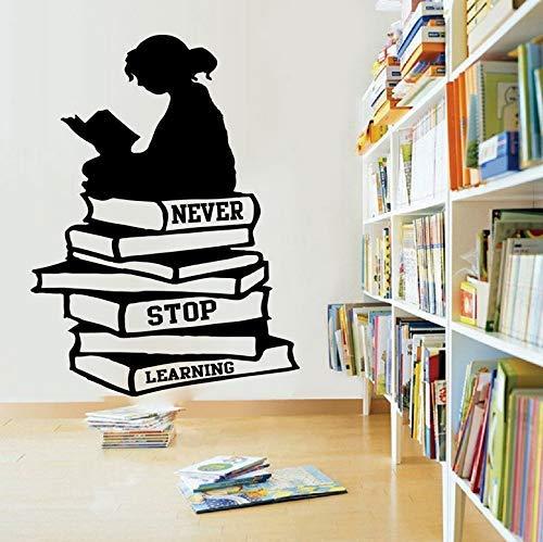 Mädchen Lesen Bücher Nie Aufhören Zu Lernen Zitat Wandtattoo Bibliothek Schulbuch Inspirierend Zitat Wandaufkleber Bildung Kunst 56X42Cm