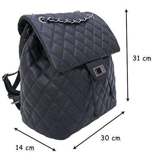 DeFeliceBags , Damen Rucksackhandtasche rot 31x30x14 schwarz
