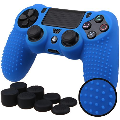 Pandaren BORCHIE silicone custodie cover pelle antiscivolo per PS4 controller x 1 (blu) + FPS PRO thumb grips pollice prese x 8