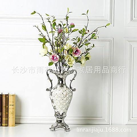 El estilo europeo moderno decoracion adornos de plata floreros shell nuevas casas están decoradas y amuebladas de 28,5*20*51 ornamentos