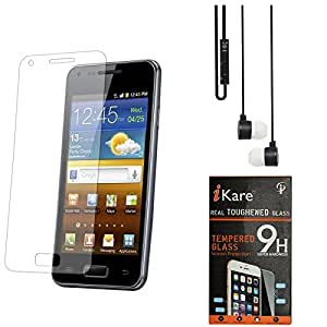 iKare Pack of 2 Premium Shatter Proof Tempered Glass Ultra Clear Screen Protector for Micromax Canvas Knight A350 + Black Stereo Earphone with Mic and Volume Control