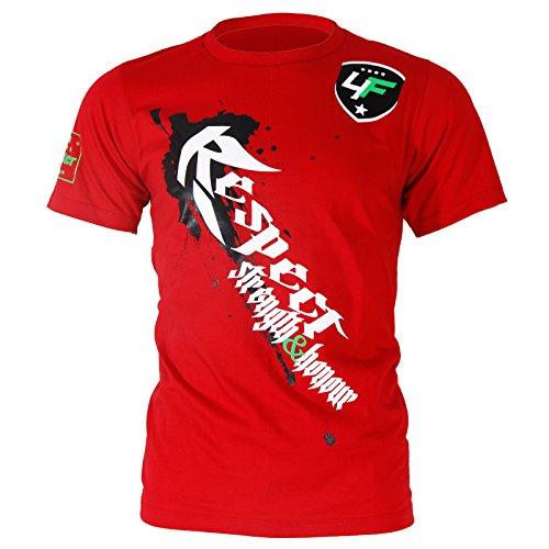 4Fighter T-Shirt in rot mit weissem Respect Druck / Strength & Honour - Stärke & Ehre / auch für Kids, Größe:Junior