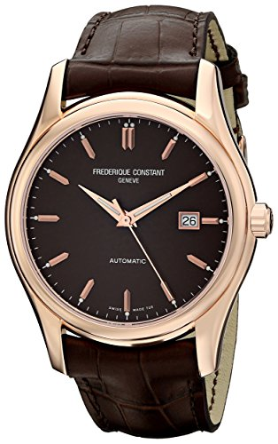 Frederique Constant FC-303C6B4 43mm Diamonds Automatic Gold Tone Case Brown Leather Anti-Reflective Sapphire Men's Watch