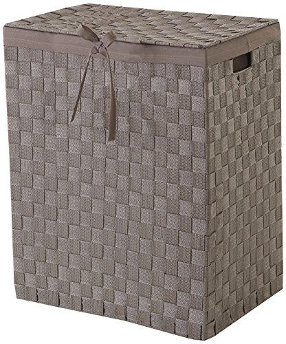 Compattatore e cintura intarsiato tex rayon 38 centimetri cestino per i vestiti sporchi con copertina in lino e dentro, marrone