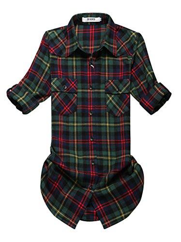 OCHENTA Blusen Damen Mittellangarm Aufkrempelnd Plaid Flanellhemd C002 Weihnachten Gruen Etikett 6XL - EU L+/EU 43