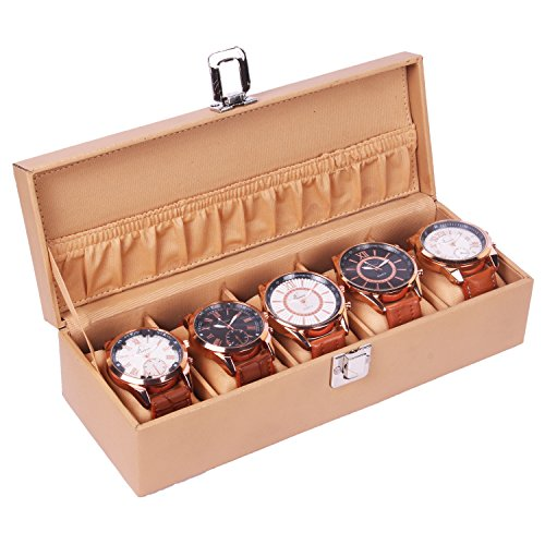 The Runner PU Leather Textured Finish Cream Colour Watch Box for 5 Watches