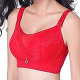 Yiiquan Damen Große Größe Klassischer Spitze Eleganter Dirndl Vollschale Keine Bügel Push-Up BH Rot 105C
