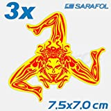 3x Trinacria Sizilien Aufkleber (Nr.117) ROT/GELB 7,5x7,0cm Adesivo Sicilia Sticker Sicily