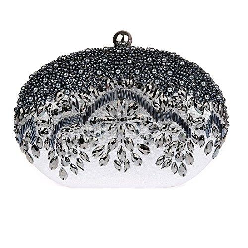 KAXIDY Damen Frauen Abendtasche Elegant Handtashce Party Hochzeit Clutch Silber