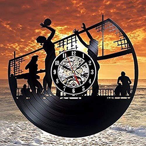 LTTGG Geschnitzte Kunst Beach Volleyball Rekord Uhr Wanddekoration Vinyl Moderne Retro-Dekoration, Durchmesser ca. 30 cm -