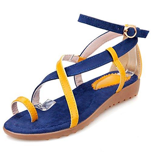 TAOFFEN Damen Gemutlich Schnalle Fesselriemen Strappy Flach Sommer Sandalen Blau