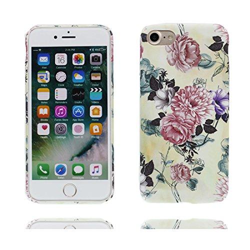 iPhone 7 Custodia, iPhone 7 Copertura 4.7, | TPU durevole Fiore Case Per le ragazze delle signore |, Gomma morbida del gel/ Cover / evidente/ rosso Fiore Fiore