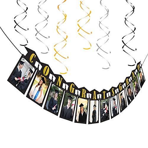 KATOOM 7tlg Abschluss Deko Set Doktorhut Foto Banner Girlande Herzlichen Glückwunsch Graduation Dekorationen für Party Abschlussfeier Abitur