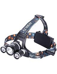 GHB Lampe Frontale LED puissante rechargeable Luminaire 6000 Lumens 3x Cree T6 LED pour VTT Cycliste,Randonnée