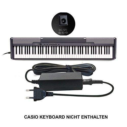 Ersatz Casio Netzteil, Netzadapter, Netzanschluss DC 12V / 12V (AD-12M3, AD-12MLA(U), AD-12MLA, AD-12M, AD-12UL, AD-12, AD-12FL, FC2, TJ2) für Casio Keyboards/Digital Piano/Synthesizers