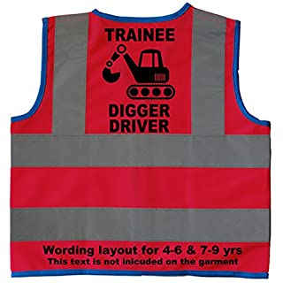 Trainee Digger Driver Baby/Children/Kids Hi Vis Safety Jacket/Vest Size 4-6 Years Pink Optional Personalised On Front
