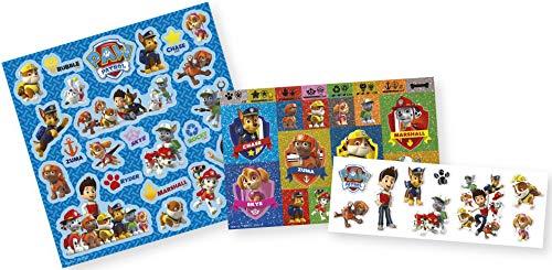 Paw Patrol Stickerbox mit 3 Stickerbögen und über 50 Stickern mit Chase, Marshall, Rocky, Zuma, Rubble, Skye und Everest - TM Essentials 720022