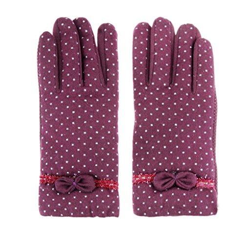 Femme Gants d'Hiver Gants Chauds Thermiques Écran Tactile Mitaines Sports d'Extérieur Moufles en Cachemire avec N½ud de Papillon Epais Douce Confortable Rouge