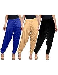 Eazy Trendz Women's Viscose Lycra Solid Patiala Pack Of 3-SKIN_BLACK_RBLUE