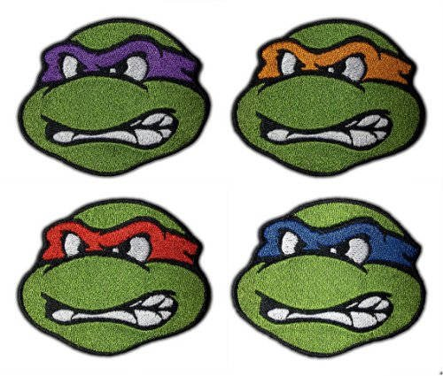 MemelBurg 4 TMNT Patches (2,5 Zoll) bestickt Eisen annähen Abzeichen Applique Teenage Mutant Ninja Turtles Souvenir Retro DIY Kostüm blau, rot, ()