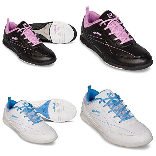 KR Bowling-Schuhe, Strikeforce Capri, für Damen und Kinder, für Rechts- und Linkshänder in 2 Farben Schuhgröße 36-41 (Weiß/Blau, US 7 (EU 37)) (Bowling-schuhe)
