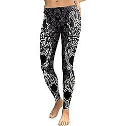 DioKlen - Leggings para Mujer, diseño de Calavera, con Estampado 3D de Camuflaje, Leggins de Fitness, Pantalones elásticos, Pantalones y Legins [KDK1769 M]