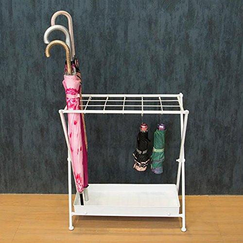 Umbrella standdy dongy porta passeggio classico in metallo bianco portaombrelli home office storage con 10 ganci 18 griglie e 1 gocciolatoio inferiore 53x28x56cm