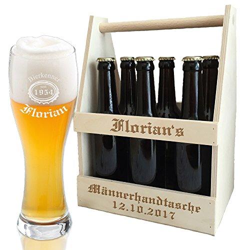 Flaschenträger + Weizenbierglas (Leonardo) im Set - mit kostenloser Gravur (B3) - ein besonderes Geburtstagsgeschenk | Männergeschenke | Geschenk für Freunde