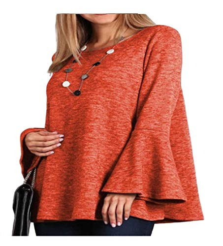 CuteRose Women Bell Sleeve V-Neck Casual Solid Color Pullover T-Shirt Red XL -