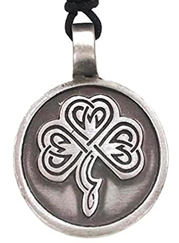 Llords Schmuck irisches dreiblättriges Kleeblatt Anhänger Halskette in keltischem Knoten Design, feinster Zinn Metall Modeschmuck