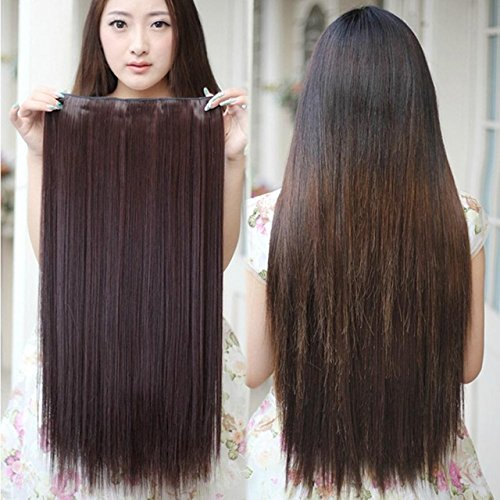BigWave 5 Clip in 24 inch straight Hair Extension Brown Color