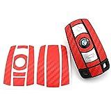 Schlüssel Folie BB für 3 Tasten Auto Schlüssel (nur Keyless Go) Folien Cover von Finest-Folia (Rot Carbon)