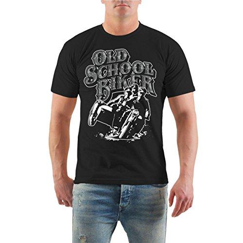 Männer und Herren T-Shirt Oldschool Biker Größe S - 8XL Schwarz