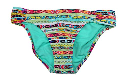 Jessica Simpson Random Stripes geraffte Seite Bikini Bottom (gro?, cool Mint)