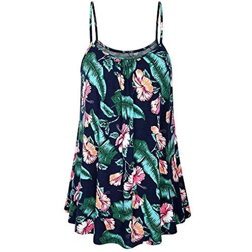 BHYDRY Oberteile Hemd Damen Sommer Druck Shirt Sleeveless Sling Weste Tank Casual Tops Bluse(Small,Marine) (Satin Sling)