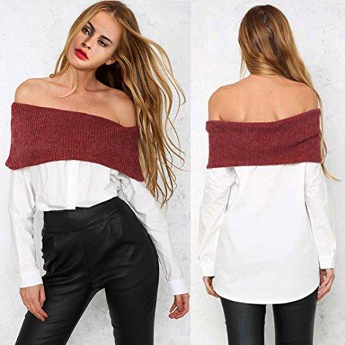 Tefamore Femmes Off Épaule Sweater Loose Blouse dépissure Ladies Casual Tops T-Shirt Blanc