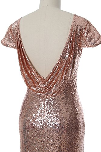 MACloth Women Long Sequin Cap Sleeve Wedding Bridesmaid Dress Cowl Evening Gown Minze