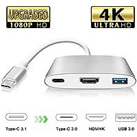 USB C a HDMI Adaptador, Tipo C Adattatore ad AV Digital HDMI 4K con USB 3.0/USB 3.1 Tipo-C per MacBook/Chromebook Pixel/Samsung S8(Actualizado)