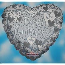 (671) 45.7cm metalizado plata corazón globo de helio feliz aniversario decoración fiesta