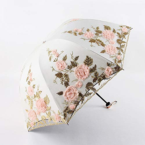 xinrongqu DREI Falten Doppel Stickerei Blume Spitze Regenschirm 1821 Sonnenschirm Sonnenschirm Schwarz Kunststoff Uv Regenschirm Regenschirm Aprikose