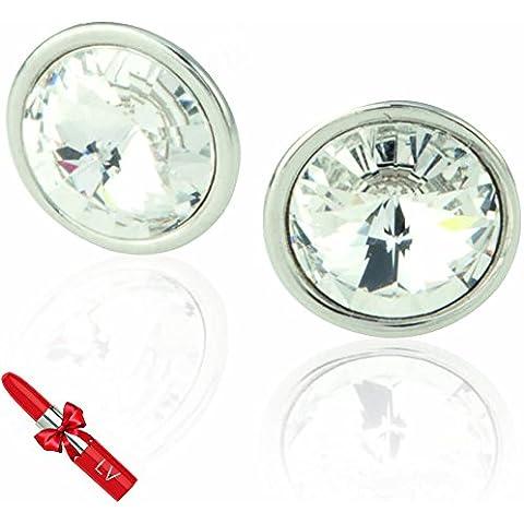 SWAROVSKI Pendientes de Cristal Circulares - Joya elegante, ligeros - Presentación en Bolsita para Regalo - Pintalabios Bolígrafo de LV