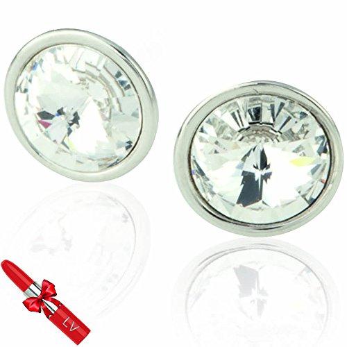 Swarovski - Orecchini di vetro circolari–Gioiello Elegante, leggeri–Presentazione in sacchetto regalo–Rossetto penna di LV inclusa!
