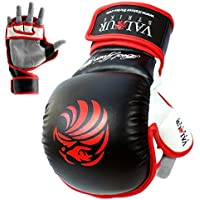 Valour Strike Pro MMA Sparring Gloves ★ Black Grappling Muay Thai Training Mitts Combat Fighting UFC Mixed Martial Arts Mitten ★ Boxing Cage Kickboxing Glove
